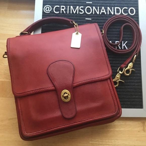 Coach Handbags - Coach vintage Station bag red leather crossbody